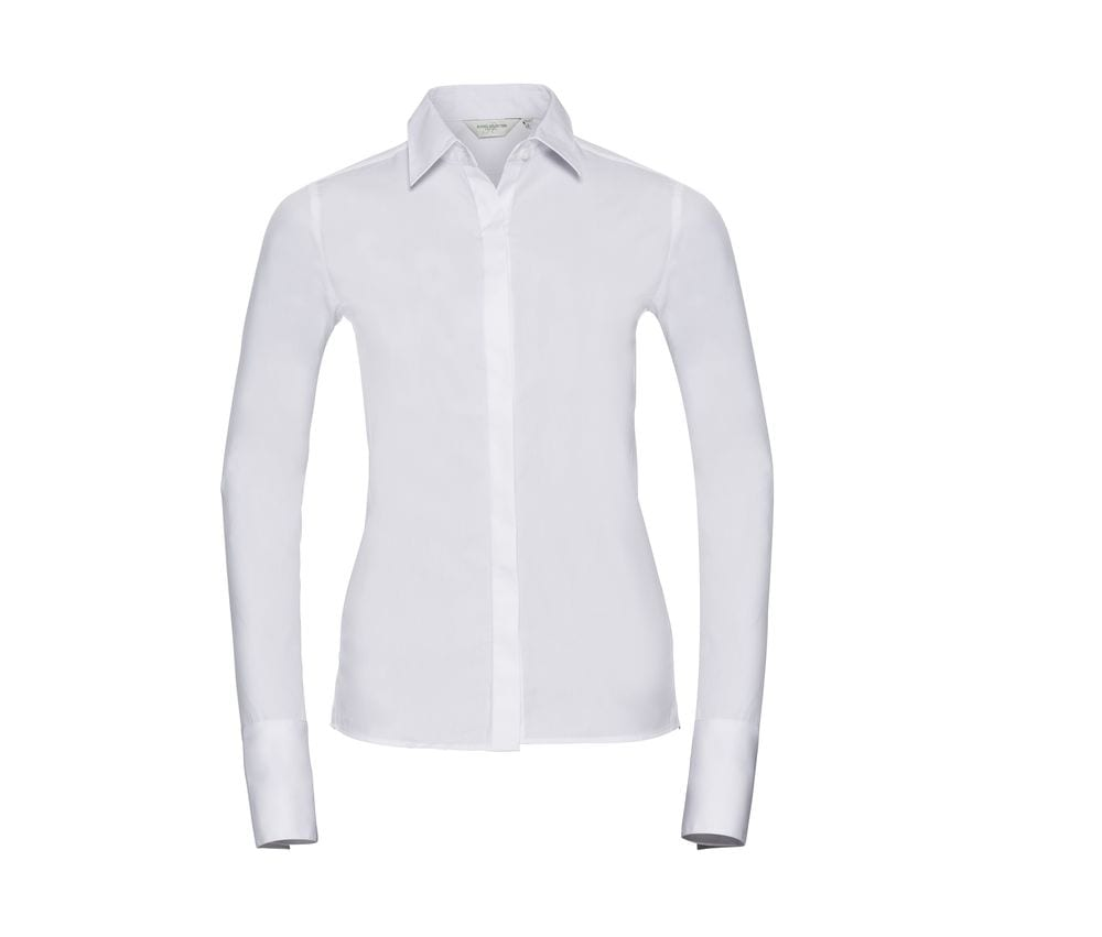 Dames Overhemd.Russell Collection Jz60f Lycra Stretch Dames Overhemd Wordans